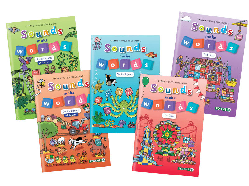 Sounds make words, Folens primary phonics school books for junior infants, senior infants, 1st class, 2nd class.